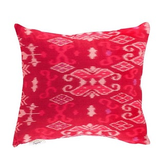 Bright Pink Ikat Throw Pillow