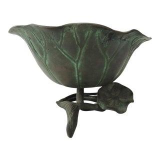 Vintage Japanese Bronze Lotus Ikebana Bowl