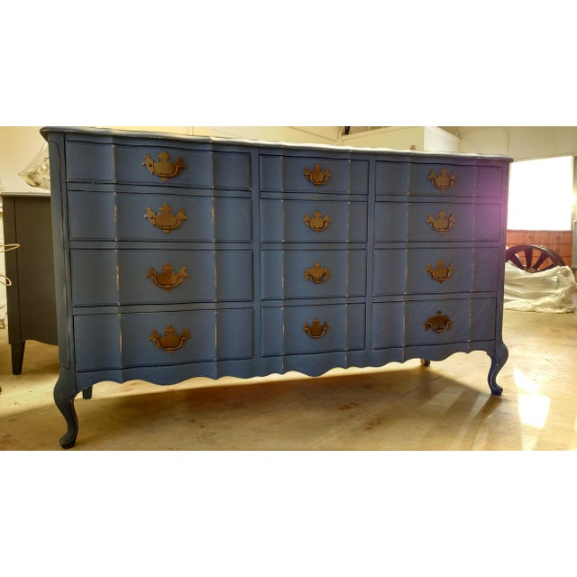 Navy French Provincial Dresser - Image 3 of 6