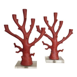 Faux Red Coral Candlesticks - A Pair