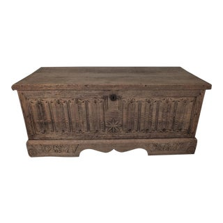 Antique Bleached Wood Blanket Chest