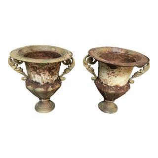 Antique Distressed Metal Urns - A Pair