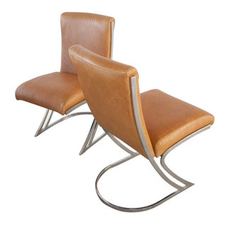 Leather & Chrome Dining Chairs - Set of 4