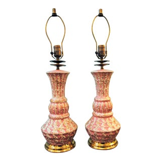 Mid Century Pink & Gold Table Lamps - a Pair