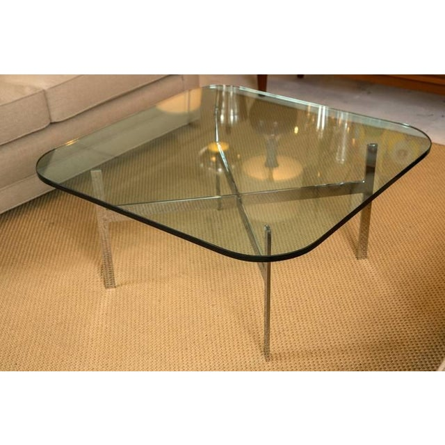 Mid-Century Steel X Base Cocktail Table - Image 2 of 9