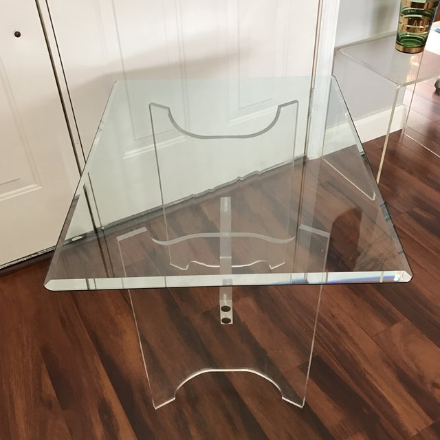 Mid-Century Lucite & Glass End Table - Image 4 of 6