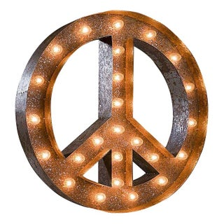 "24"" Vintage Marquee Peace Sign Light"