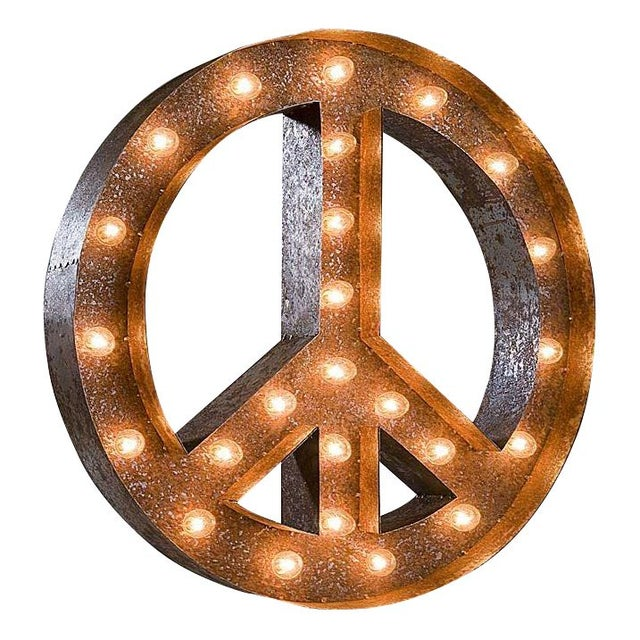 "24"" Vintage Marquee Peace Sign Light - Image 1 of 3"