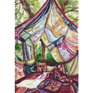 """We Should Go Glamping More Often"" Watercolor Painting"