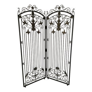 Ornate Heavy Iron Folding Screen