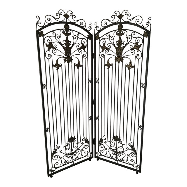 Ornate Heavy Iron Folding Screen - Image 1 of 7