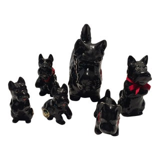 5 Vintage Ceramic Scottie Dog Figures & Coin Bank