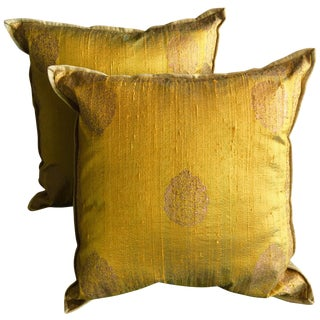 Luxury Silk Blockprint Pillows - Pair