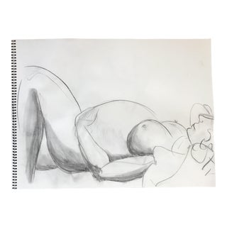 Reclining Pregnant Nude Drawing