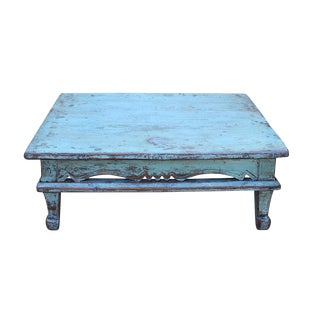 Chinese Distressed Rustic Light Blue Low Kang Table