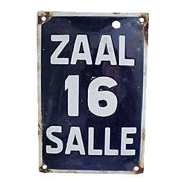 Antique Belgian Enamel Address Sign