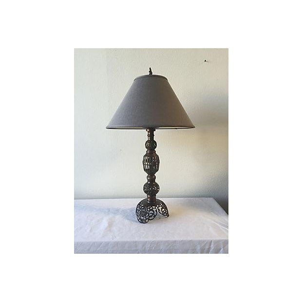 Antique Scrolled Metal Lamp with Silk Grey Shade - Image 2 of 5