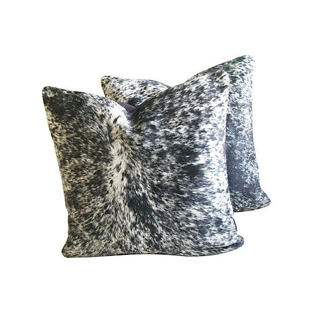Speckled Black & White Cowhide Pillows - A Pair - Image 3 of 3