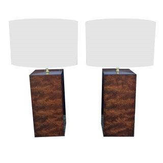 Pair of Burl Wood Block Lamps