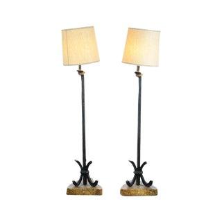 Mid-Century Designer Bronze Floor Lamps - A Pair