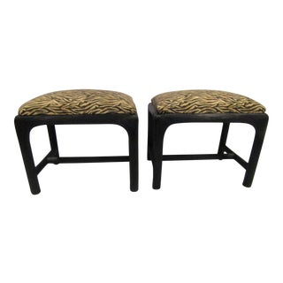Black Woven Wicker Low Stools - A Pair