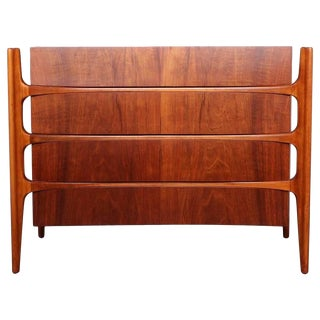 Walnut Curved Front Dresser Designed by William Hinn