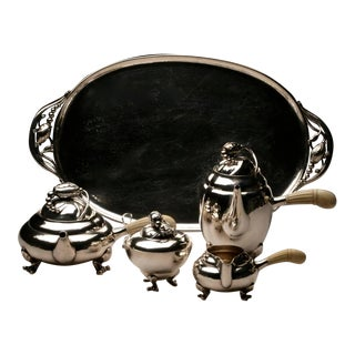 "Georg Jensen Sterling Silver ""Blossom"" Coffee and Tea Service on Tray No. 2X"