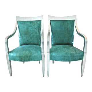 Donghia Silver Leaf Crocodile Embossed Leather Armchairs - A Pair