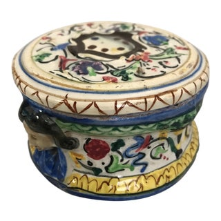 Round Italian Majolica Box With Lid
