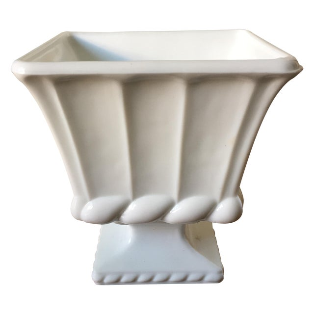Image of Vintage Milk Glass Footed Vase