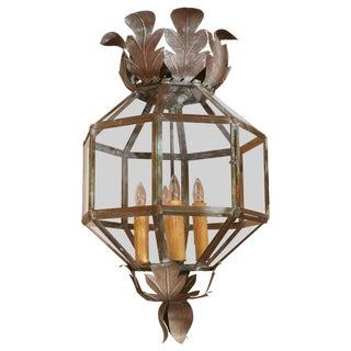 Octagonal Glass Paneled Tole Lantern