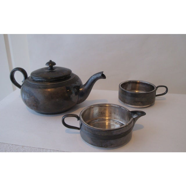 Antique Stacking Tea Pot, Creamer and Cup Set - Image 3 of 5