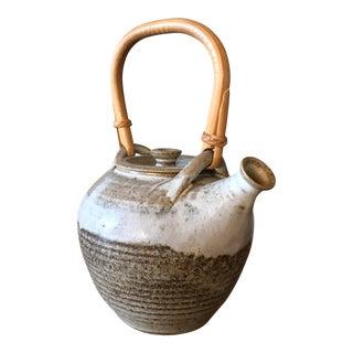 Vintage Studio Pottery Bamboo Handle Teapot