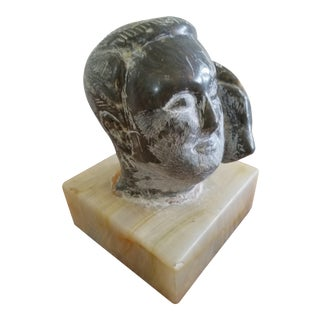 Carved Marble Man Sculpture on Onyx Block