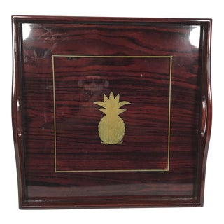 Asian Cherry Wood Lacquer Tray