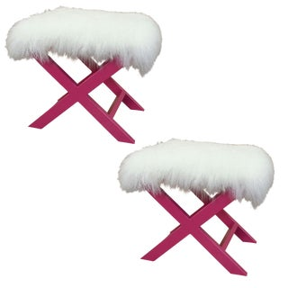 Pink X-Shape Sheepskin Benches - A Pair