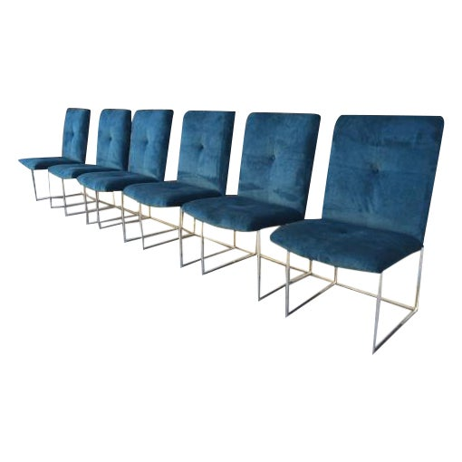 Image of Milo Baughman Blue Velvet Dining Chairs - 6
