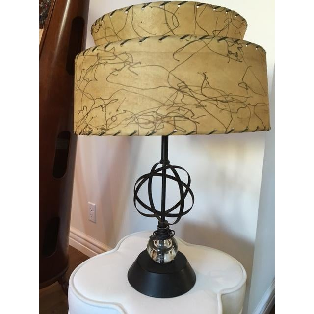 Atomic Mid-Century Lamp With Shade - Image 2 of 9