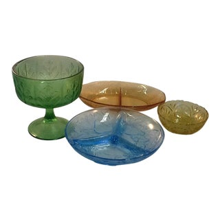 Mixed Colors Depression Glass Collection - Set of 4
