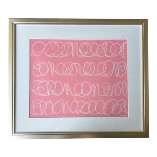 White Love Notes on Pink Acrylic Painting