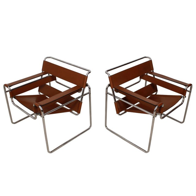 gavina knoll wassily breuer leather chairs pair chairish. Black Bedroom Furniture Sets. Home Design Ideas