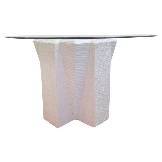 White Art Deco Dining Table with Glass Top - Image 1 of 5