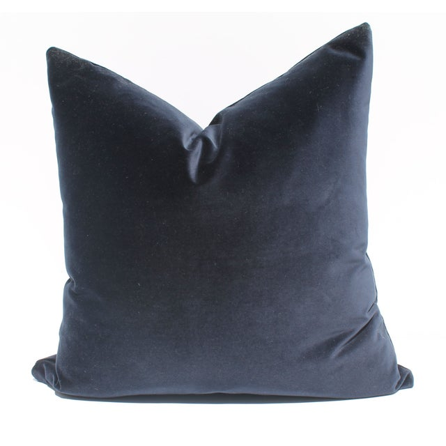 Image of Indigo Blue Italian Velvet Pillows - A Pair