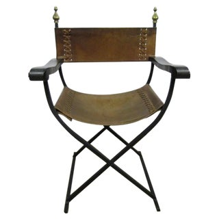 60s Wrought Iron & Leather Mexican Campaign Chair