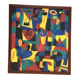 Vintage Abstract Painting on Canvas