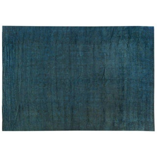 Silky Wool Turquoise Overdyed Rug - 12′ × 17′3″
