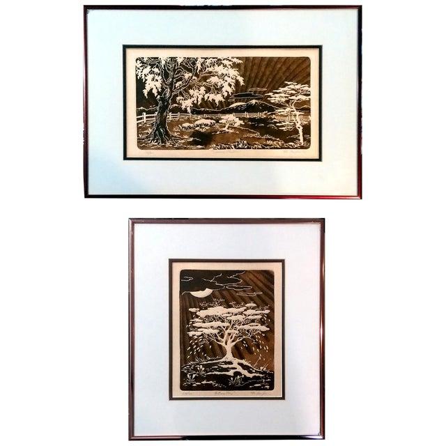 Al Kaufman Intaglio Etchings - A Pair - Image 1 of 10
