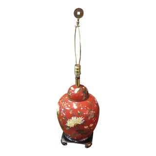 Red East Asian Style Jar Table Lamp