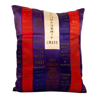Vintage 4H Blue Ribbon Collection Throw Pillow