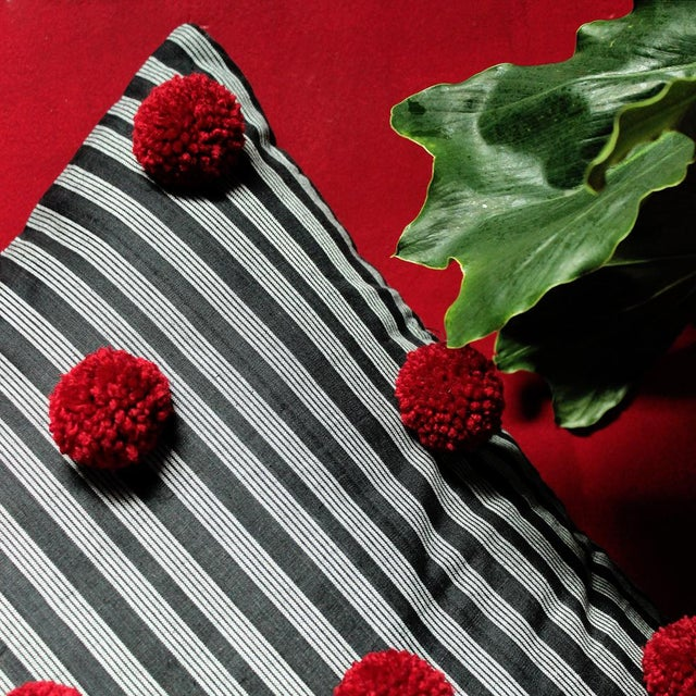 Black Lurik Pillow with Cranberry Red Pom-poms Tassels - Image 4 of 6